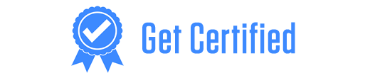 "a white background with blue letters saying ""get certified"""